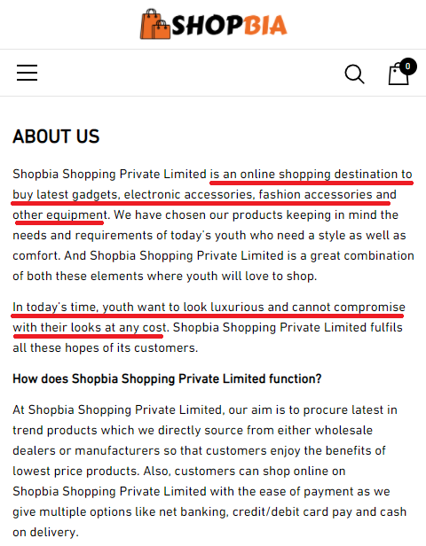 shopbia scam copied content