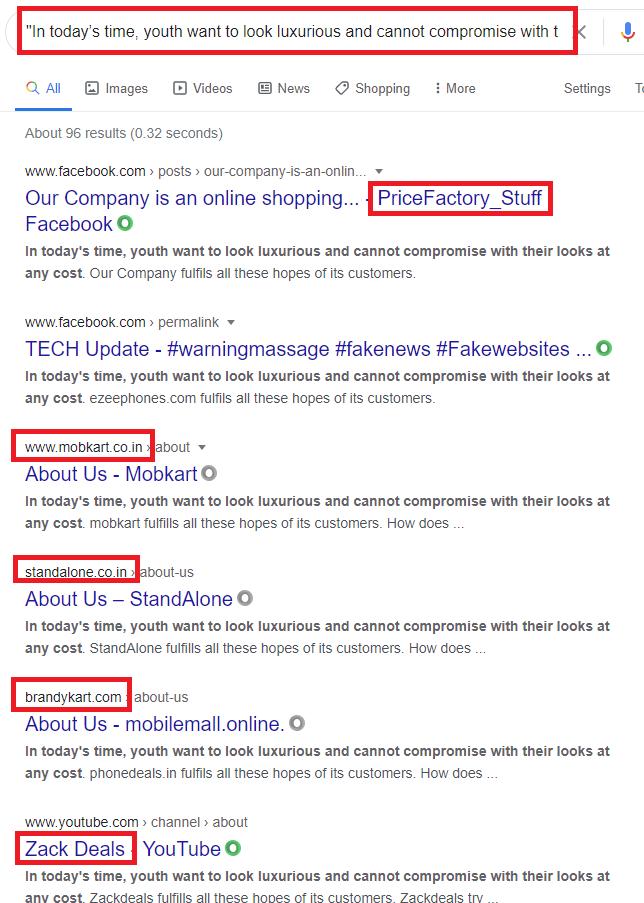 google search copied content