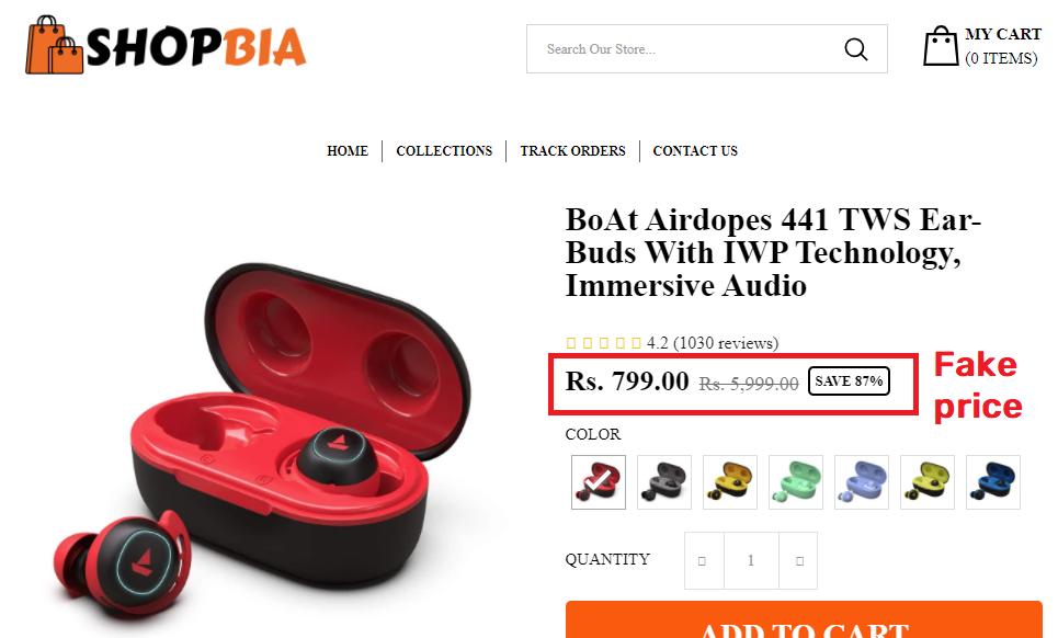 shopbia scam boat airdopes fake price