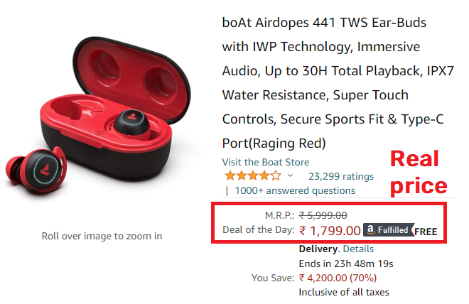 amazon boat airdopes real price