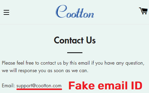 Cootton scam fake email 1