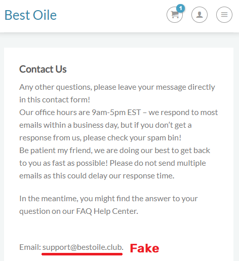 bestoile scam fake contact information