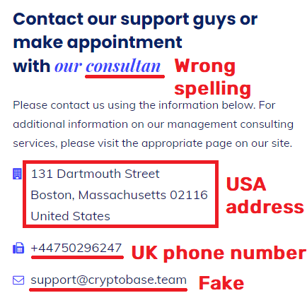 cryptobase scam fake contact information