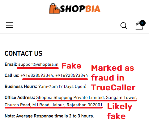 shopbia scam fake contact details