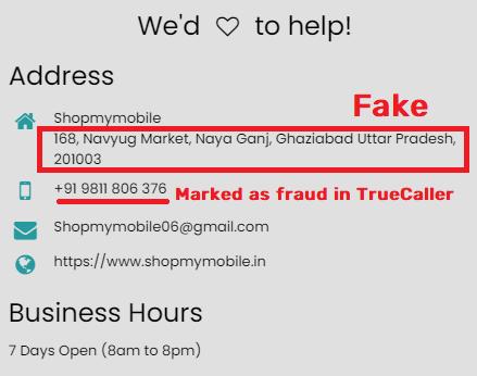 shopmymobile scam fake contact details