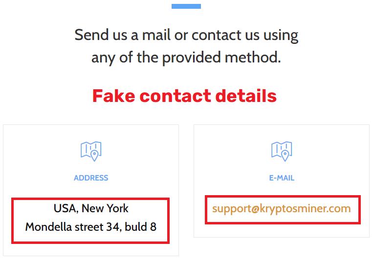 kryptosminer scam fake contact details