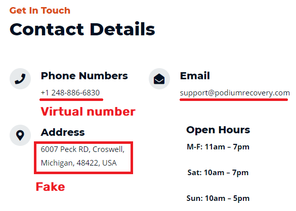 podium recovery scam fake contact details