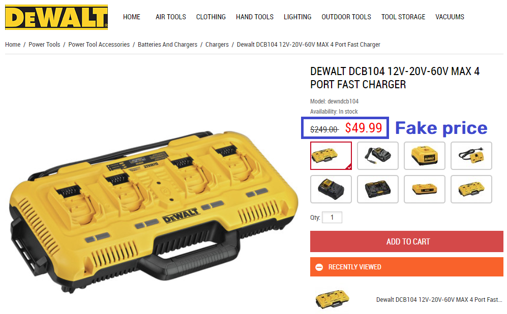 dewaltset scam charger fake price