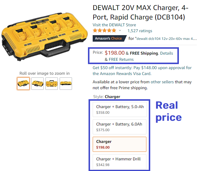 dewaltset charger real price amazon