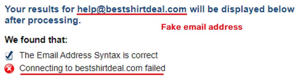 BestShirtDeal scam fake email address