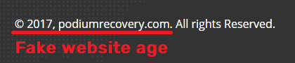 podium recovery scam fake website age