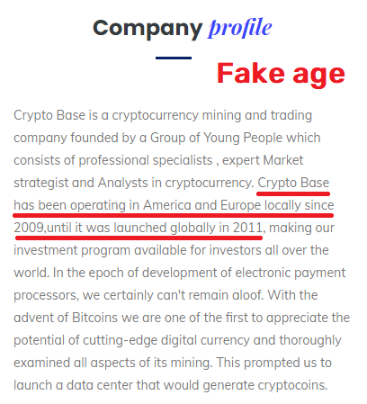 cryptobase scam fake website age