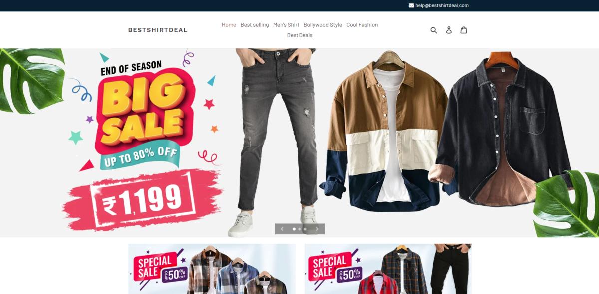 bestshirtdeals scam home page