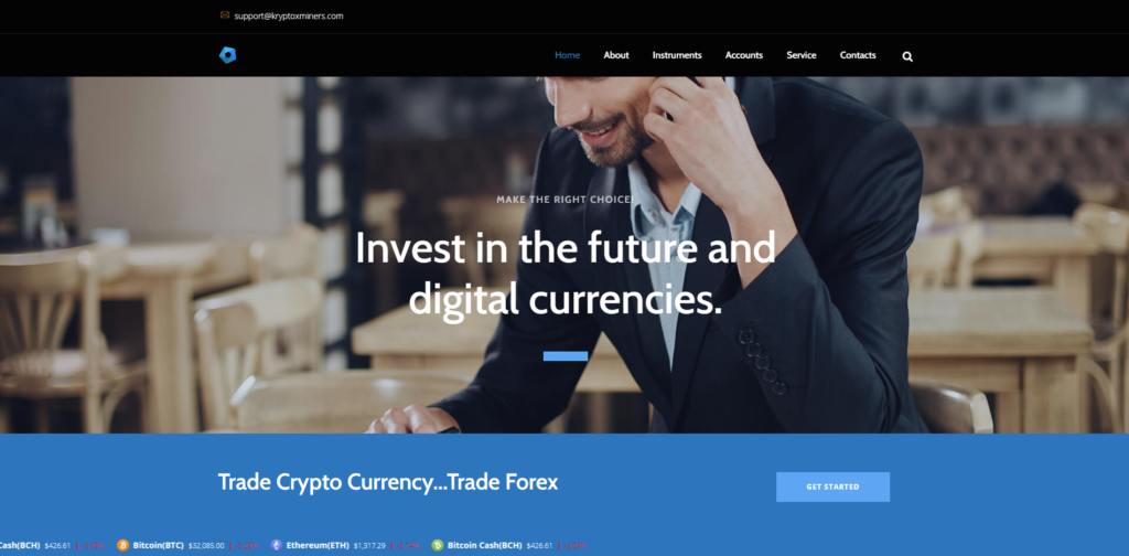 kryptoxminer scam home page