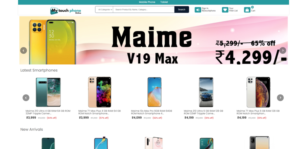 mytouchphone scam home page maime fake brand