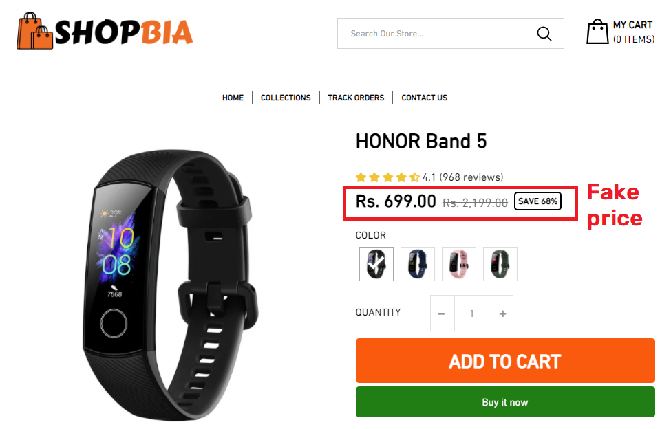 shopbia scam honor band 5 fake price