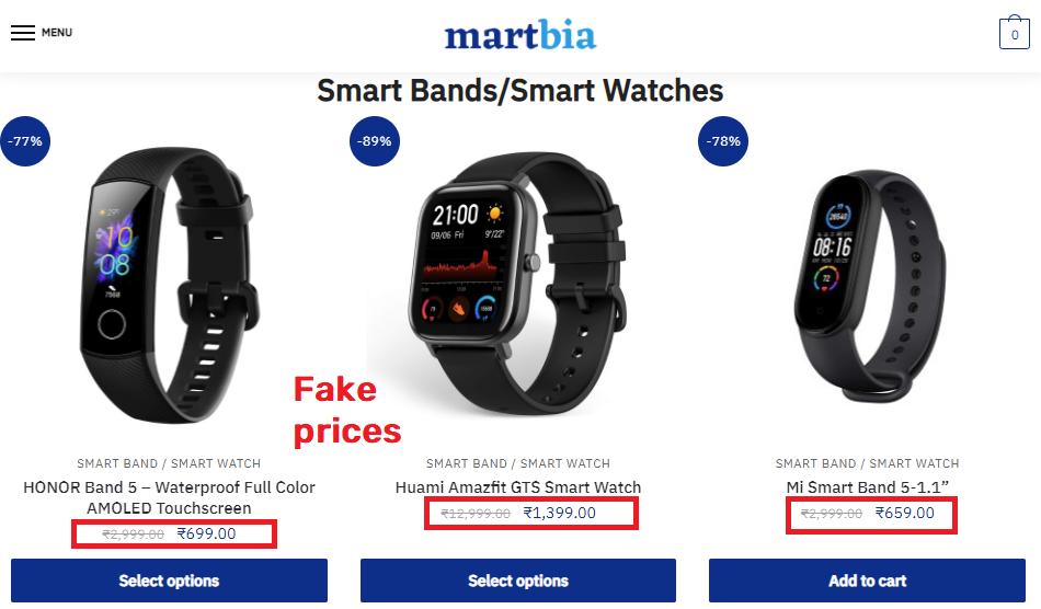 martbia scam fake prices