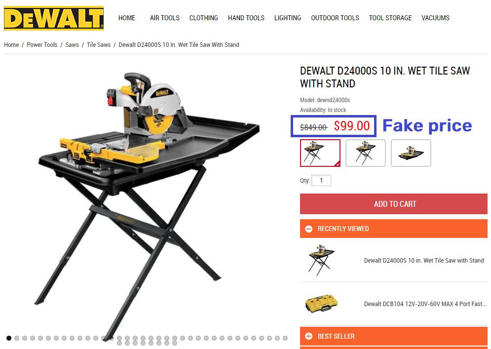 dewaltset scam fake price table saw