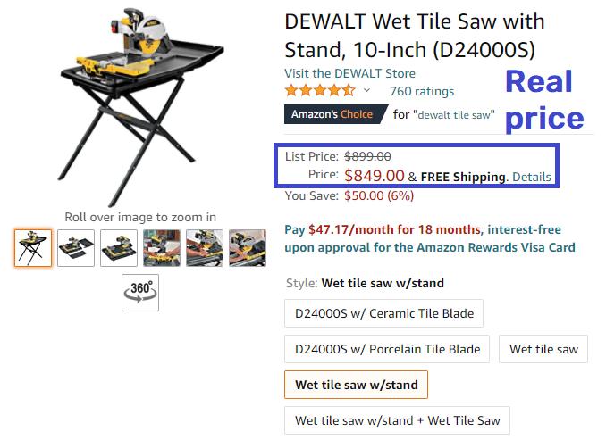 dewaltset real price table saw amazon