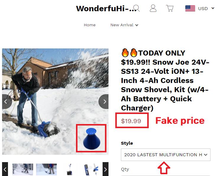 maddemall scam fake snow shovel 1