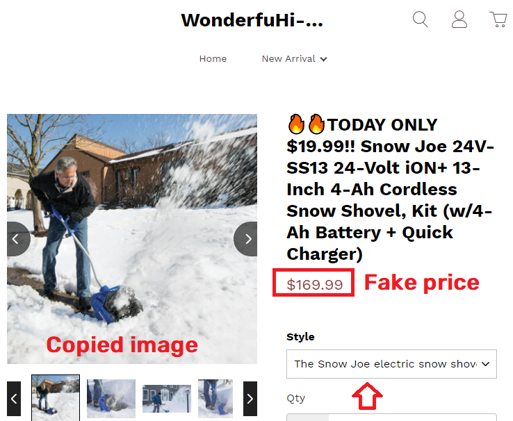 maddemall scam snow shovel fake price 2