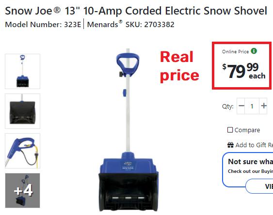 snowjoe snow shovel real price