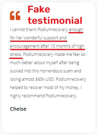 podium recovery scam fake testimonial 1