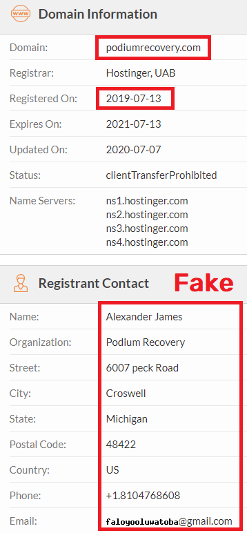 podium recovery scam whois