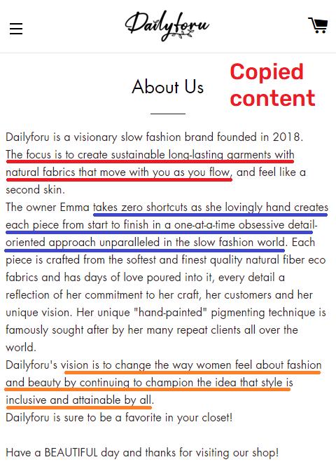 dailyforu scam about us copied content