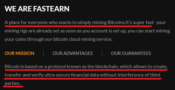 fastearn scam copied text