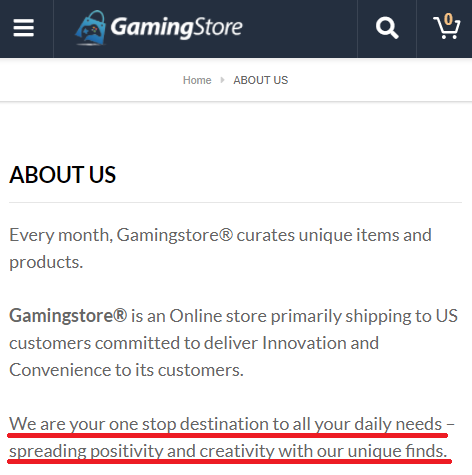 gamingstore scam copied about us content