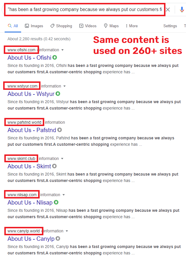 chinese scam network about us copied content