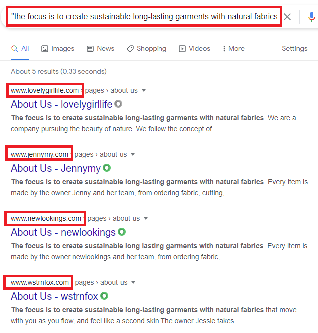 chinese ecommerce scams about us copied content google search