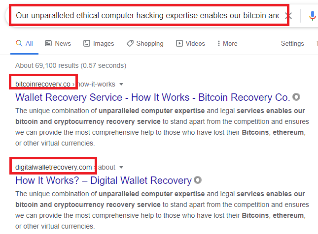 recovery scams copied content google