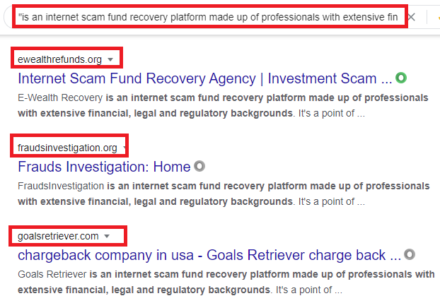recovery scams copied content google search