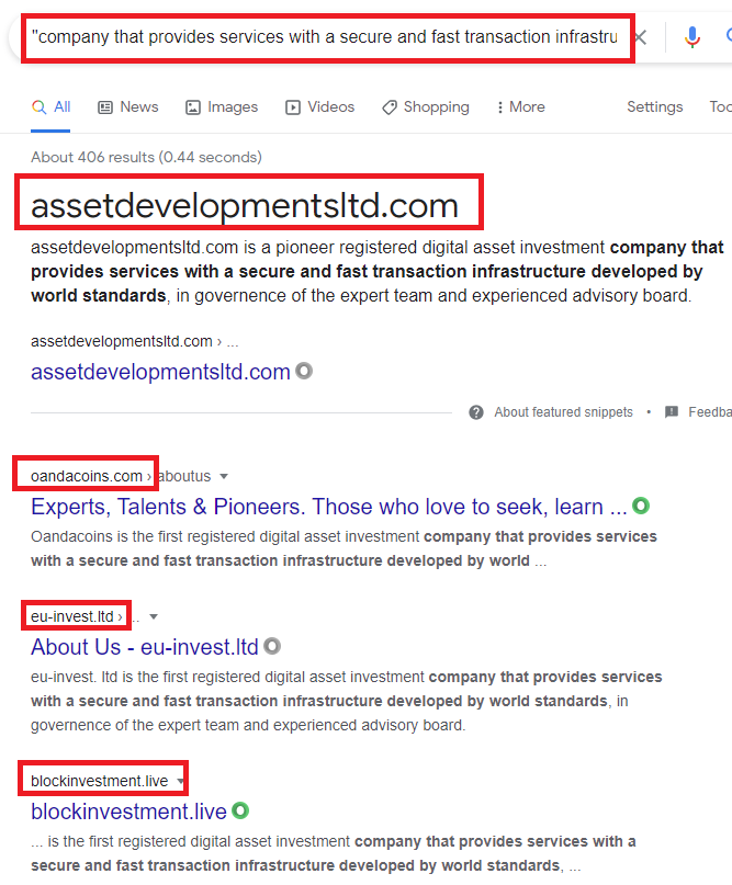 investment scams copied about us text google search