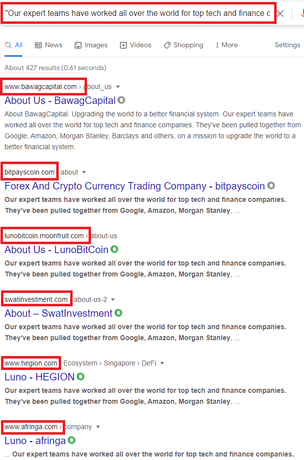 investment scams copied content