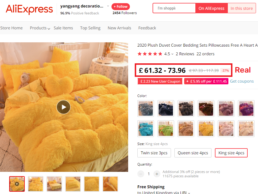 aliexpress fluffly yellow bed set real price