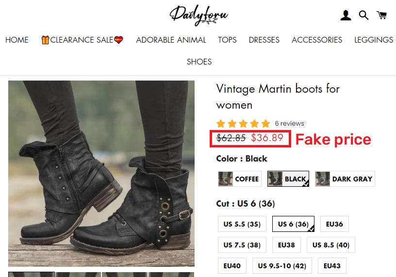 dailyforu scam martin boots fake price