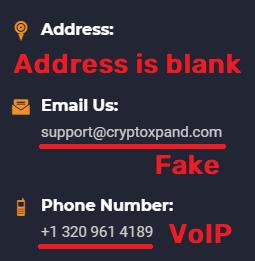 crypto scam fake contact details