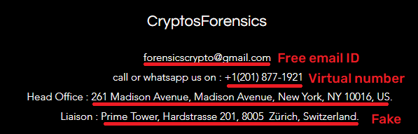 CryptosForensics scam contact details