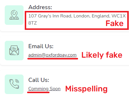 oxfordpay scam fake contact details