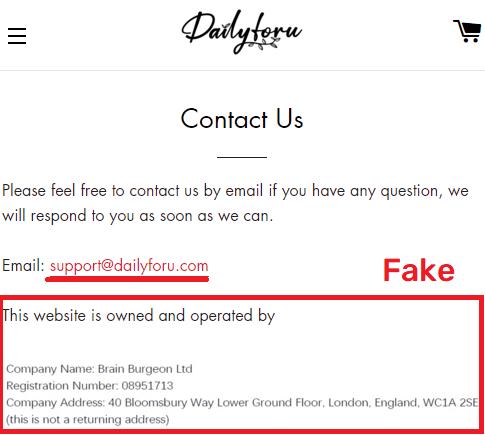 dailyforu scam fake contact details