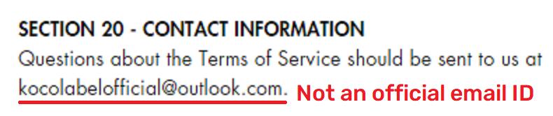 kocolabel scam email address