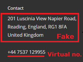 Cybersphere Security fake contact details