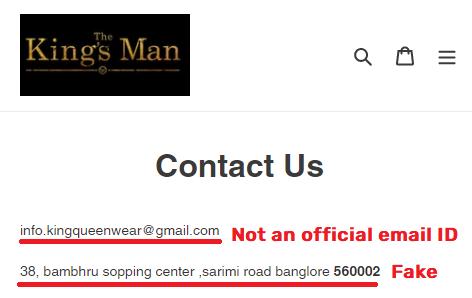 kingsmanshop scam fake contact details