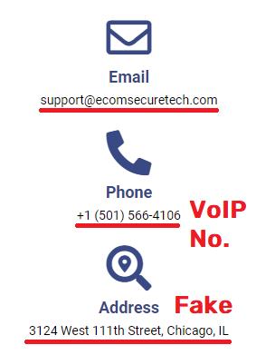 Ecomsecuretech scam fake contact details