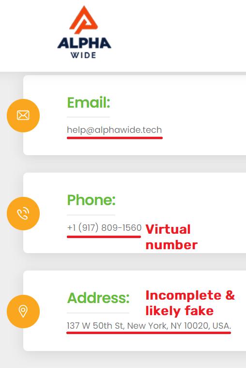 alphawide tech scam fake contact details