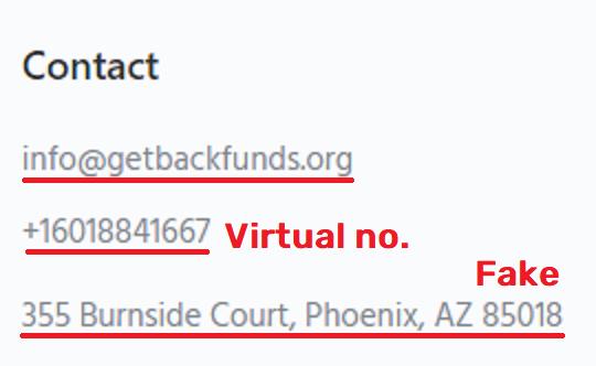 GetBackFunds scam fake contact details