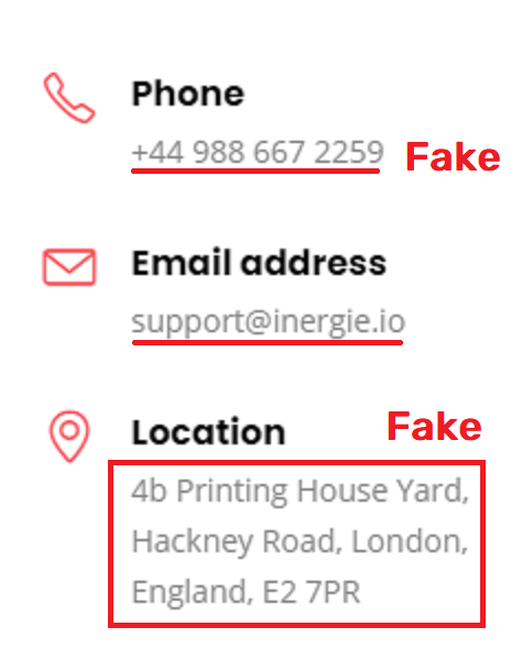 fake contact details